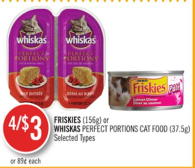 Friskies (156g) or Whiskas Perfect Portions Cat Food (37.5g)