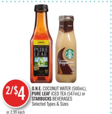 O.n.e. Coconut Water (500ml) - Pure Leaf Iced Tea (547ml) or Starbucks Beverages