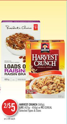 Harvest Crunch (560g) - Life (425g - 450g) or PC Cereal