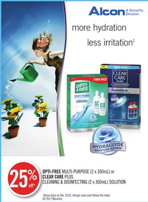Opti-free Multi-purpose (2 X 300ml) or Clear Care Plus Cleaning & Disinfecting (2 X 360ml) Solution