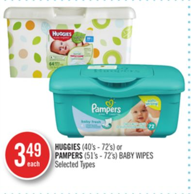 Huggies(40's - 72's) or Pampers (51's - 72's) Baby Wipes