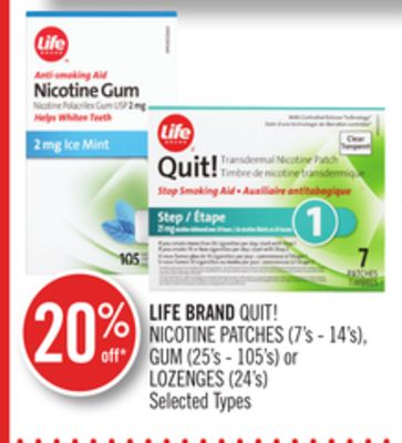 Life Brand Quit! Nicotine Patches (7's - 14's) - GUM (25's - 105's) or Lozenges (24's)