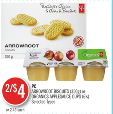 PC Arrowroot Biscuits (350g) or Organics Applesauce Cups (6's)