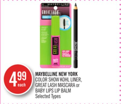 Maybelline New York Color Show Kohl Liner - Great Lash Mascara or Baby Lips Lip Balm