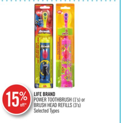 Life Brand Power Toothbrush (1's) or Brush Head Refills (3's)