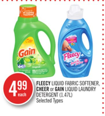 Fleecy Liquid Fabric Softener - Cheer or Gain Liquid Laundry Detergent (1.47l)
