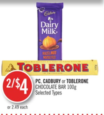 PC - Cadbury or Toblerone Chocolate Bar