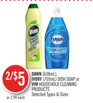 Dawn (638ml) - Ivory (709ml) Dish Soap or Vim Household Cleaning Products