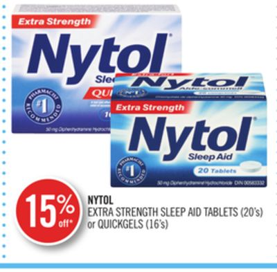 Nytol Extra Strength Sleep Aid Tablets (20's) or Quickgels (16's)