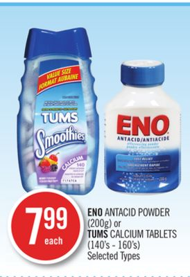Eno Antacid Powder (200g) or Tums Calcium Tablets (140's - 160's)