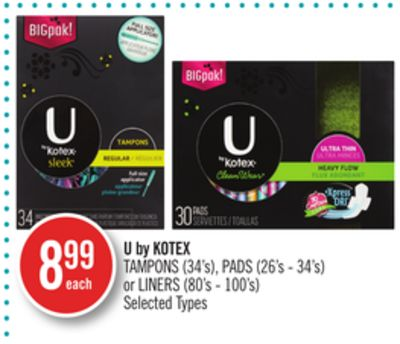 U By Kotex Tampons (34's) - Pads (26's - 34's) or Liners (80's - 100's)