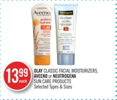 Olay Classic Facial Moisturizers - Aveeno or Neutrogena Sun Care Products