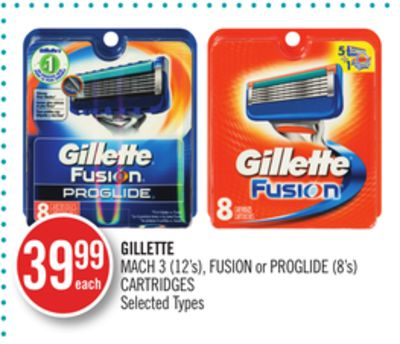Gillette Mach 3 (12's) - Fusion or Proglide (8's) Cartridges