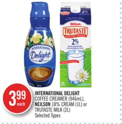 International Delight Coffee Creamer (946ml) - Neilson 18% Cream (1l) or Trutaste Milk (2l)