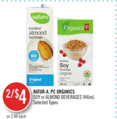 Natur-a.pc Organics Soy or Almond Beverages