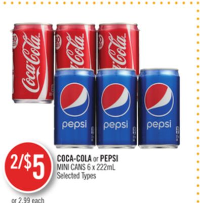 Coca-cola or Pepsi Mini Cans
