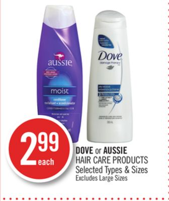 Dove or Aussie Hair Care Products