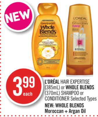 L'oréal Hair Expertise (385ml) or Whole Blends (370ml) Shampoo or Conditioner