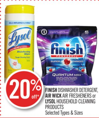 Finish Dishwasher Detergent - Air Wick Air Fresheners or Lysol Household Cleaning Products