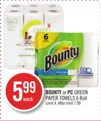 Bounty or PC Green Paper Towels 6 Roll