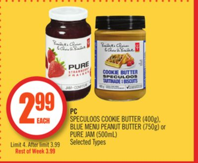 PC Speculoos Cookie Butter (400g) - Blue Menu Peanut Butter (750g) or Pure Jam (500ml)
