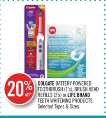 Colgate Battery Powered Toothbrush (1's) - Brush Head Refills (2's) or Life Brand Teeth Whitening Products