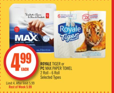 Royale Tiger or PC Max Paper Towel 2 Roll - 6 Roll