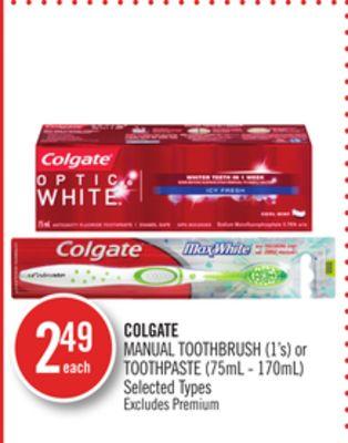 Colgate Manual Toothbrush (1's) or Toothpaste (75ml - 170ml)