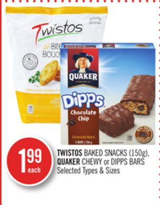 Twistos Baked Snacks (150g) - Quaker Chewy or Dipps Bars