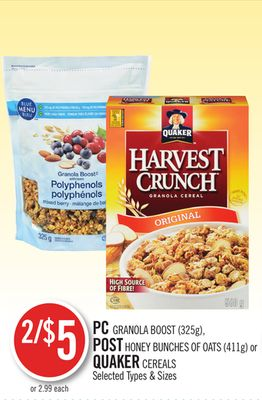 PC Granola Boost (325g) - Post Honey Bunches Of Oats (411g) or Quaker Cereals