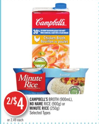 Campbell's Broth (900ml) - No Name Rice (900g) or Minute Rice (250g)