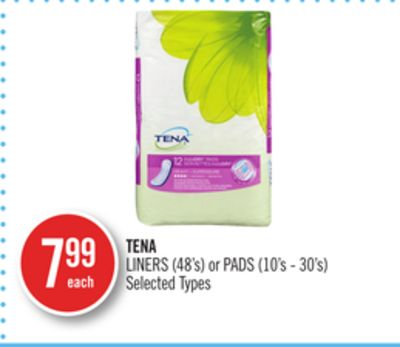 Tena Liners (48's) or Pads (10's - 30's)