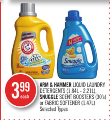 Arm & Hammer Liquid Laundry Detergents (1.84l - 2.21l) - Snuggle Scent Boosters (30's) or Fabric Softener (1.47l)