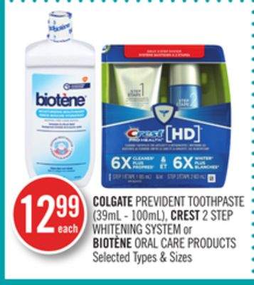 Colgate Prevident Toothpaste (39ml - 100ml) - Crest 2 Step Whitening System or Biotène Oral Care Products