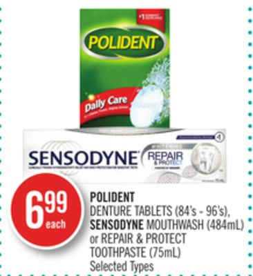 Polident Denture Tablets (84's - 96's) - Sensodyne Mouthwash (484ml) or Repair & Protect Toothpaste (75ml)