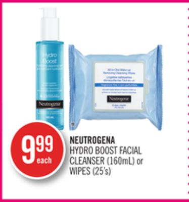 Neutrogena Hydro Boost Facial Cleanser (160ml) or Wipes (25's)
