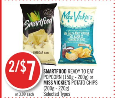 Smartfood Ready To Eat Popcorn (150g - 200g) or Miss Vickie's Potato Chips (200g - 220g)