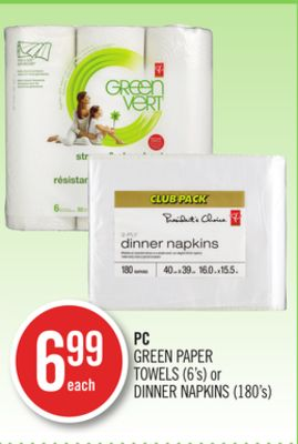 PC Green Paper Towels (6's) or Dinner Napkins (180's)