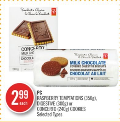 PC Raspberry Temptations (350g) - Digestive (300g) or Concerto (240g) Cookies