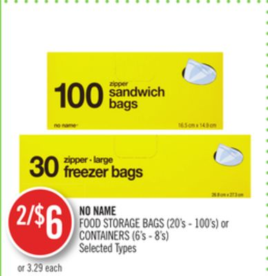 No Name Food Storage Bags (20's - 100's) or Containers (6's - 8's)