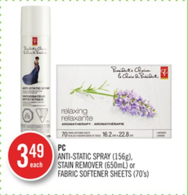 PC Anti-static Spray (156g) - Stain Remover (650ml) or Fabric Softener Sheets (70's)