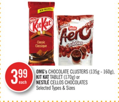 Omg's Chocolate Clusters (135g - 160g) - Kit Kat Tablet (170g) or Nestlé Cellos Chocolates