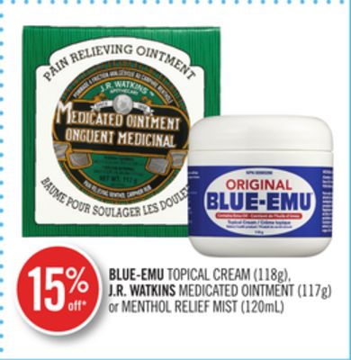 Blue-emu Topical Cream (118g) - J.r. Watkins Medicated Ointment (117g) or Menthol Relief Mist (120ml)
