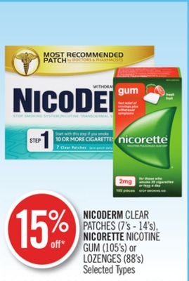 Nicoderm Clear Patches (7's - 14's) - Nicorette Nicotine GUM (105's) or Lozenges (88's)