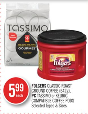 Folgers Classic Roast Ground Coffee (642g) - PC Tassimo or Keurig Compatible Coffee PODS
