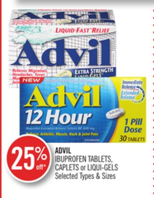 Advil Ibuprofen Tablets - Caplets or Liqui-gels