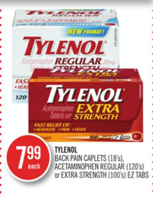 Tylenol Back Pain Caplets (18's) - Acetaminophen Regular (120's) or Extra Strength (100's) Eztabs