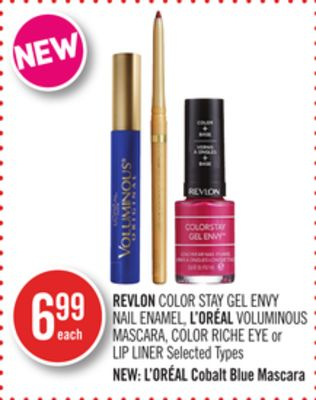Revlon Color Stay Gel Envy Nail Enamel - L'oréal Voluminous Mascara - Color Riche Eye or Lip Liner