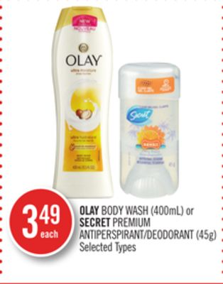 Olay Body Wash (400ml) or Secret Premium Antiperspirant/deodorant (45g)