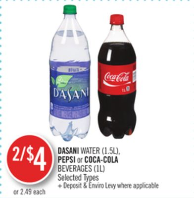 Dasani Water (1.5l) - Pepsi or Coca-cola Beverages (1l)